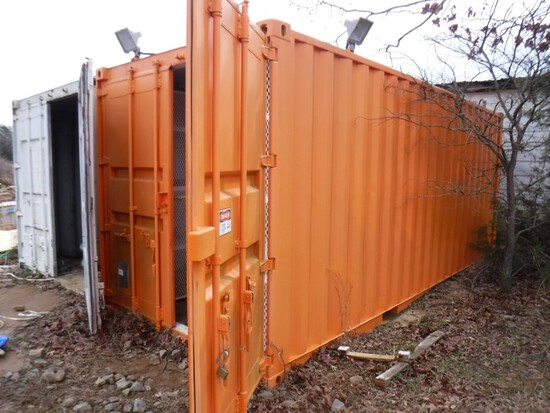 2011 20' Steel Storage Container – Orange – S#QP1216917 – Has Locking Stora