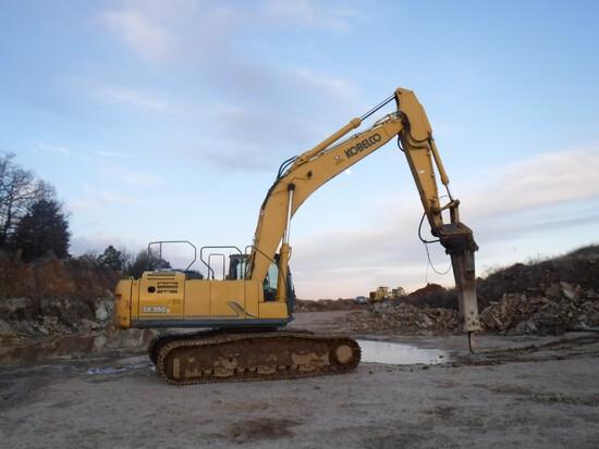 2015 Kobelco SK350LC-9E Excavator Hammer Hoe, 4,575 Hours, Cab, AC, Heat, A