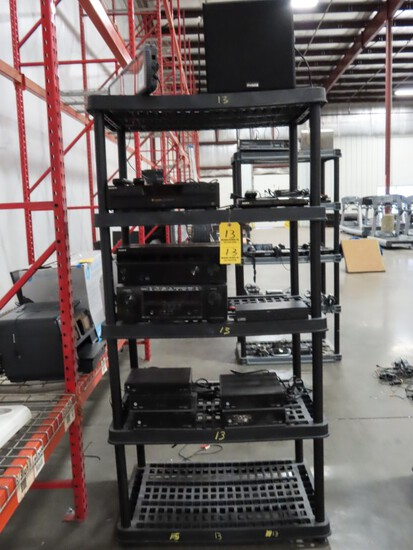 LOT OF MISC. ELECTRONICS ON SHELVING-  FROM 2ND SHELF TO TOP) 5 MOTOROLA DC