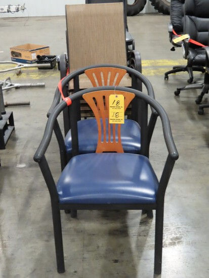 LOT OF LOBBY CHAIRS, PATIO CHAIRS, AND FOLDING CHAIRS-  AS PICTURED: 2 LOBB