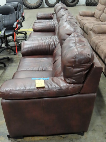LOT OF (3) BROWN LOVE SEATS,  BROWN SYNTHETIC LEATHER UPHOLSTERY