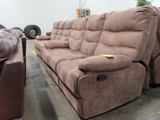 LOT OF (2) RECLINING 3-SEAT SOFAS,  BRANDS ARE UNKNOWN, EACH SOFA HAS TWO R