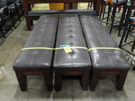 LOT OF (3) BENCHES,  DARK BROWN BUTTON CUSHIONED UPHOLSTERY WITH STAINED WO