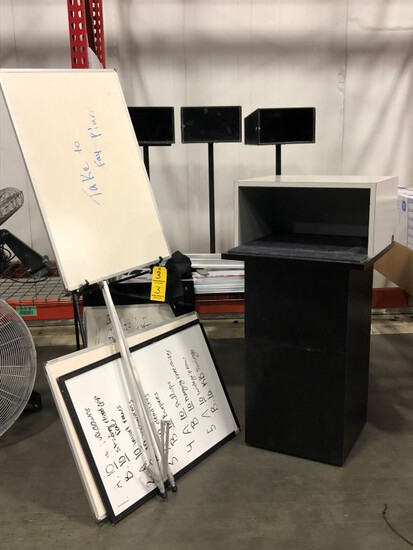 """LOT OF OFFICE MATERIALS- 4 DRY ERASE BOARDS AND 2 BOARD STANDS, 3 """"COMMENT-"""