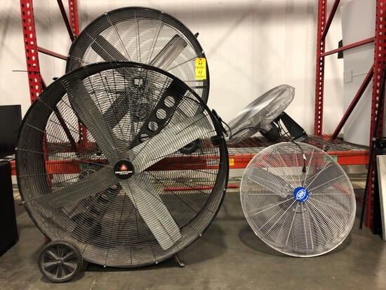 """LOT OF FANS- 2 GLOBAL INDUSTRIAL 30"""" 120V 220W FANS WITH MOUNTING BASE BRAC"""