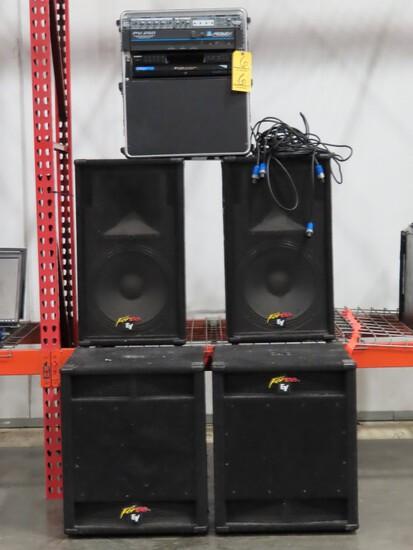 LOT OF SOUND SYSTEM EQUIPMENT,  2  EV 300 WATT SUBWOOFERS, 2 EV SPEAKERS, 3