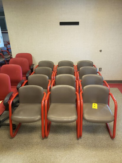 (12) RED AND GREY METAL CHAIRS