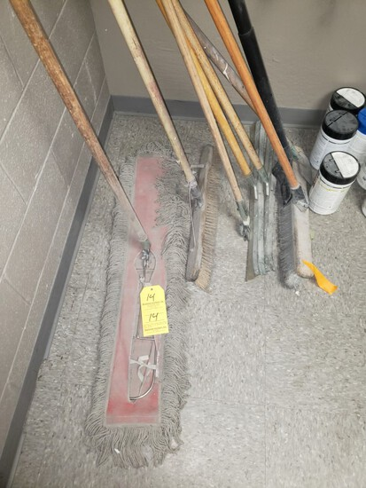LOT OF BROOMS AND CLEANING SUPPLIES