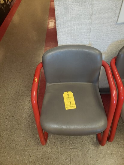 (10) RED AND GREY METAL CHAIRS