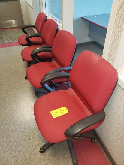 (4) 4 RED AND BLACK ADJUSTABLE CHAIRS