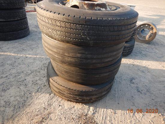 (4) 11R22.5 TIRES  ON STEEL WHEELS (LOCATED AT BLACKMON YARD, 425 BLACKMON