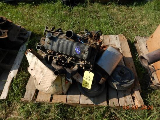 4 CYLINDER DIESEL ENGINE,  TRAILER HUBS AND MISC.
