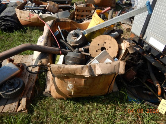 BOX WITH AC PARTS AND MISC. TRUCK PARTS