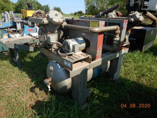 INGERSOLL RAND DUAL AIR COMPRESSOR,  WITH CONTROL BOX