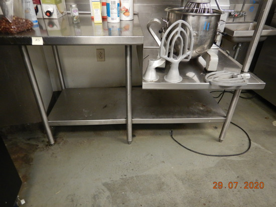 STAINLESS STEEL TABLE WITH SHELF AND REMAINING CONTENTS
