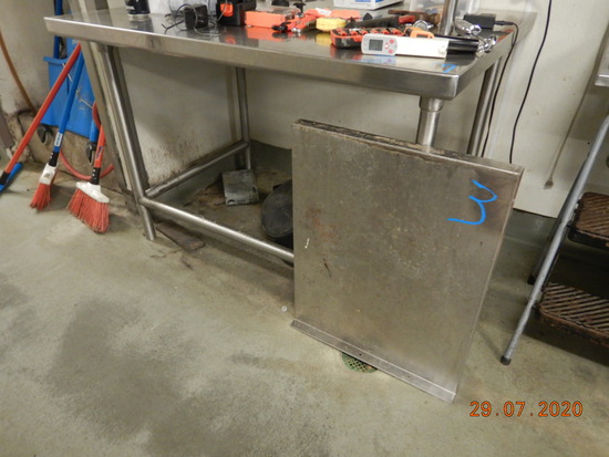 STAINLESS TABLE WITH (2) WALL SHELVES