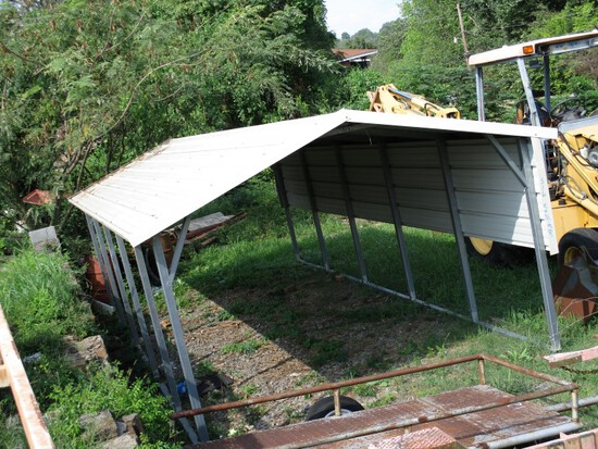 PORTABLE CARPORT/SHED,  10' X 25' X 8' TALL, BUYER RESPONSIBLE FOR DISASSEM