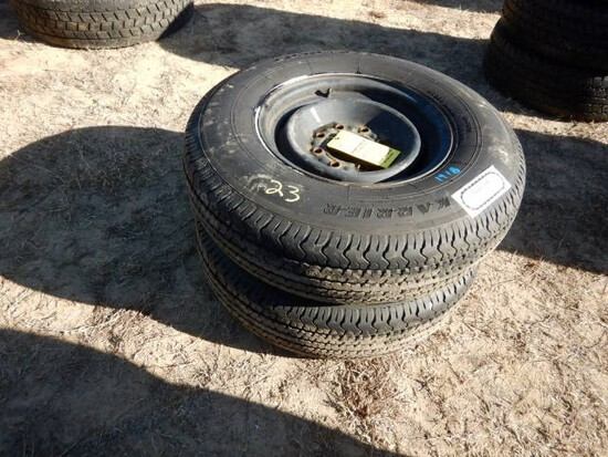 (2) 235/80R16 10-PLY TIRES  ON 8-HOLE RIMS