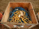 CRATE OF EXTENSION CORDS, WATER HOSES, AND MISC.