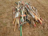 HAND TOOLS  LARGE LOT OF SHOVELS, RAKES, MISC. HAND TOOLS