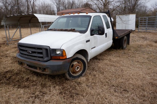 2000 FORD F-350 FLATBED TRUCK,  EXTENDED CAB, V8, AUTOMATIC, PS, AC, GOOSEN