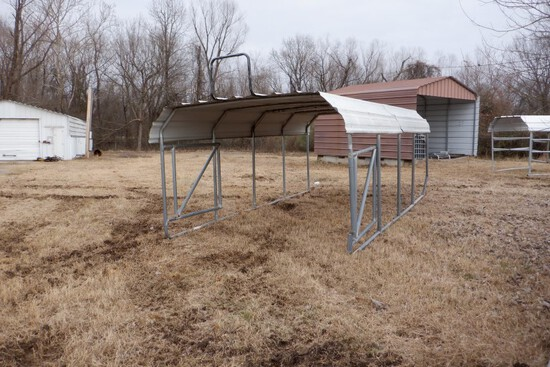 PORTABLE CARPORT,  12' X 20', ON SKIDS, WITH GATES