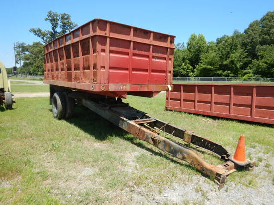 GRAIN DUMP BED,  17', MOUNTED ON TRUCK FRAME, SINGLE AXLE, SPRING SUSPENSIO