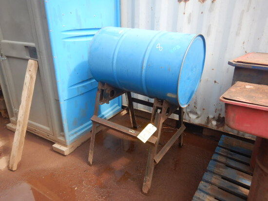 55-GALLON DRUM OF 15-40 OIL & STAND