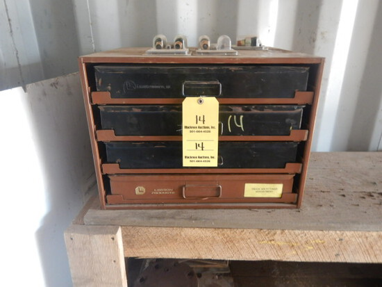LAWSON PARTS BIN WITH ASSORTED AIR FITTINGS