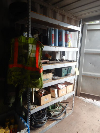 METAL SHELF WITH PAPER TOWELS, OIL, ELECTRICAL PARTS,  FOAM SEALANT AND MIS