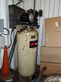 INGERSOLL RAND SHOP AIR COMPRESSOR,  UPRIGHT, ELECTRIC, WITH EXTRA TANK