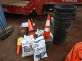 LOT OF SAFETY CONES, ABSORB-ALL, TRASH CANS AND COOLER