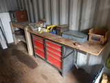TOOLBOX WITH MISC. TOOLS, HYDRAULIC FITTINGS, TOOLS AND WOODEN SHELF