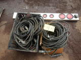 LOT OF TRUCK ELECTRICAL PLUGS, CORDS AND LIGHT BAR