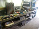 (2) SECTION OF METAL SHELVING, FURNITURE DOLLY AND MISC. TOOLS