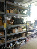 (1) SECTION METAL SHELVING, LIGHTS, BELTS AND MISC. TRUCK PARTS