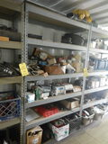 (1) SECTION OF METAL SHELVING WITH AIR BAGS AND TRUCK PARTS