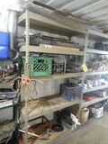 (1) SECTION OF METAL SHELVING WITH HYDRAULIC HOSES AND TRUCK PARTS