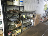 (2) METAL SHELVES WITH FUNNEL, FILTERS AND MISC.