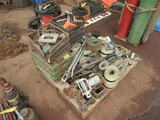 PALLET WITH RATCHET STRAPS, TRAILER STAPS, BARS AND MISC.