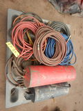 PALLET WITH MISC. AIR LINES, HOSES AND (2) AIR TANKS