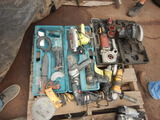PALLET WITH MISC. POWER TOOLS, SAWS, GRINDERS, DRILLS