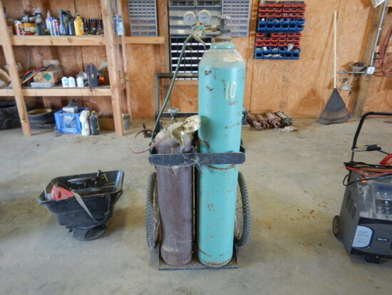 TORCH CART WITH BOTTLES, GAUGES, AND HOSES  (NO PAPERWORK ON BOTTLES)