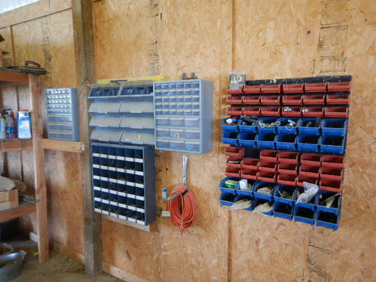 BOLT BINS WITH CONTENTS  (ON SHOP WALL)