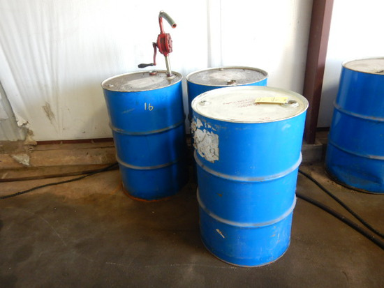 (2) DRUMS OF LUBSOIL 15W40 ENGINE OIL & (1) DRUM OF AW46 HYDRAULIC OIL