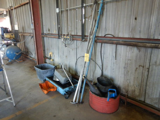 LOT WITH MOBILE OIL DRAIN PAN, WATER BUCKETS, LOAD LOCKS & MISC.