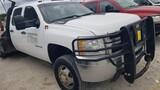 2014 CHEVROLET 3500 FLATBED TRUCK,  CREW CAB, 4 X 4, 6.6 LITRE DURAMAX DIES