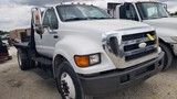 2008 FORD F-750 FLATBED TRUCK, 238,326+ mi,  EXTENDED CAB, CAT C7 DIESEL, A