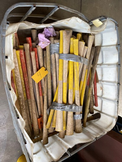 (50+) new Unused  Pick axe handles w/ crate, LOAD OUT FEE $5
