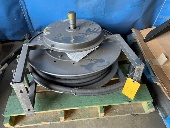 """(1) HANNAY Spring  Hose reel/Hyd. (2) 1"""" hoses 50' Pt# SSN800, LOAD OUT FEE"""